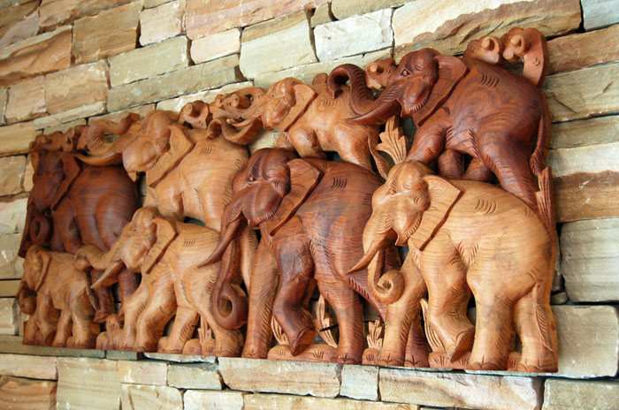Carved Elephant Herd Family Teak Wood Wall Carving w/ hangers