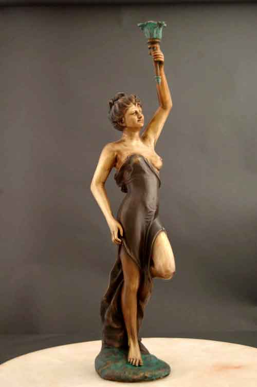 Bronze Candle Holder Art Deco Sculpture Large