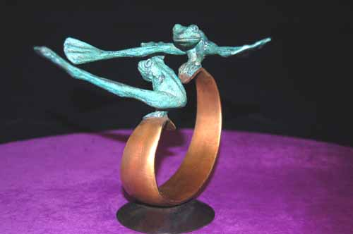 Frog Figurine Playful Circus Frogs Bronze Art Sculpture