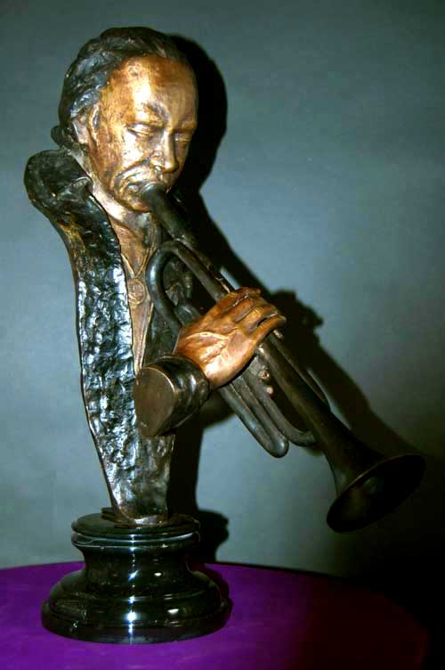 Image 0 of Miles Davis Bronze Bust Jazz Trumpeter Statue Sculpture