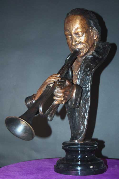 Image 1 of Miles Davis Bronze Bust Jazz Trumpeter Statue Sculpture