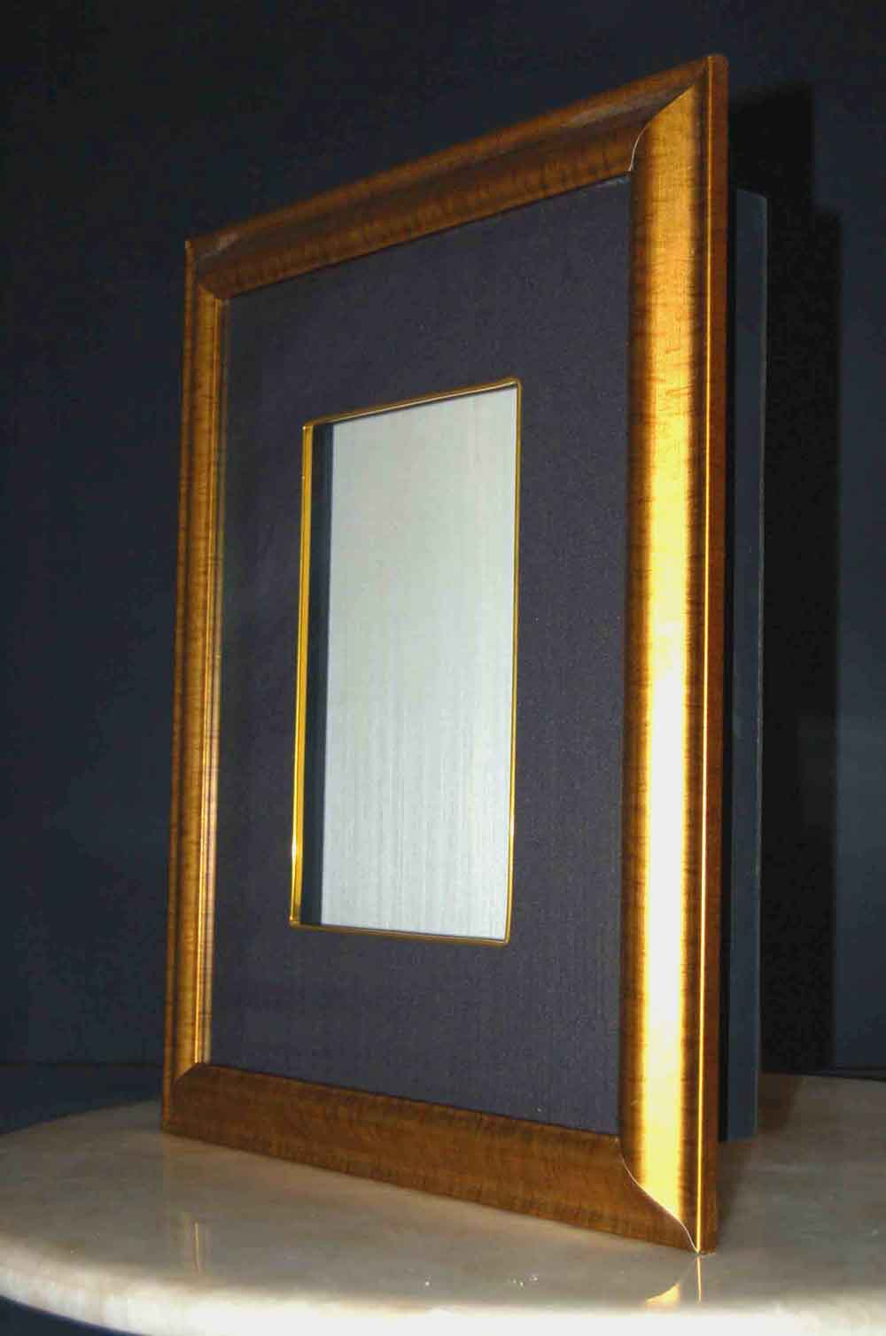 Gold Shadow Box Frame w/Silk and Glass 21\
